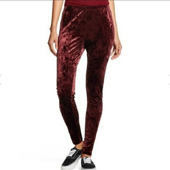 6f51837647179 Mossimo Supply Co. Pants   Maroon Crushed Velvet Leggings Nwot Wine ...